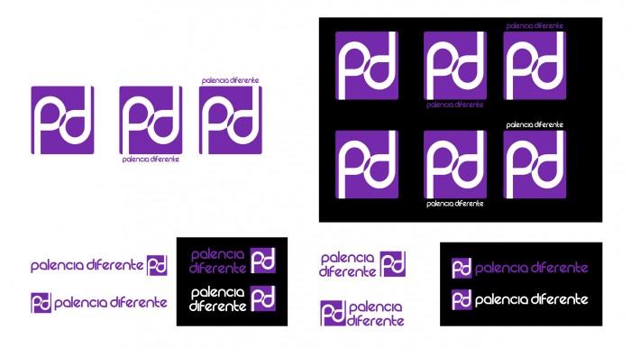 Evolución dellogotipo, diferetentes pruebas, nuevo logotipo Palencia Diferetente