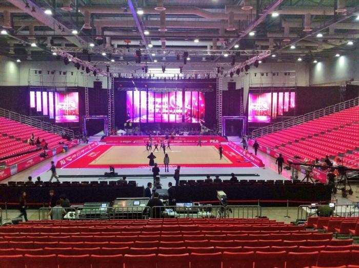 Selección española gimnasia rítmica 2014 preparando exibición